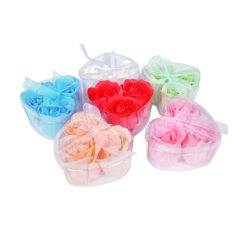 现货供应礼品玫瑰香皂花洗手清洁3朵皂花加丝带
