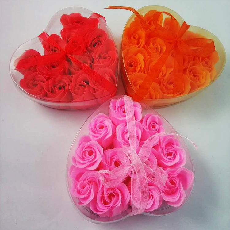 厂家加工12朵心形盒装纸香皂花情人节日礼物清洁舒爽洗澡肥皂花