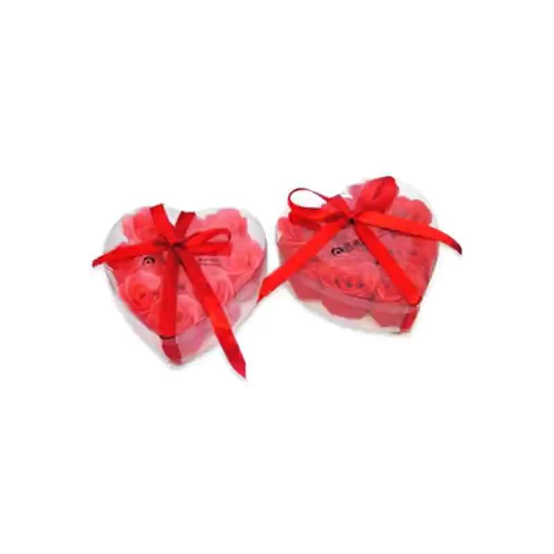 厂家加工9朵心形盒装香皂花 rose soap礼品套装玫瑰花泡沫细腻