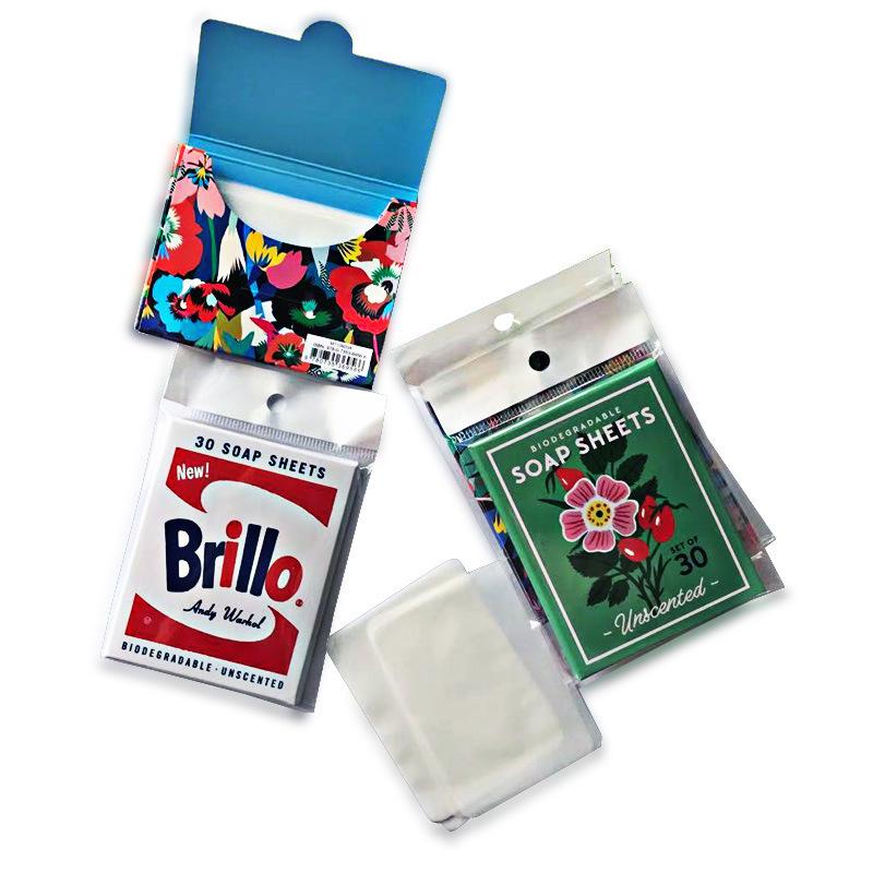 厂家生产OEM皂片半透明茉莉味肥皂片20片跨境纸香皂片50片定制